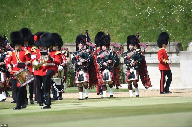 Members of the Massed Band of the Household Division during a ceremony at Windsor Castle in Berkshire to mark the Queen's official birthday