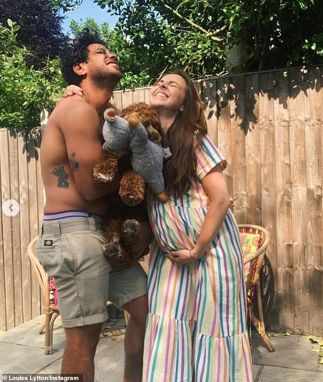 Sweet:Captioning her post: 'Bump update,' Louisa and Ben even got their beloved pet dog involved, with Ben snuggling the sweet poch in between himself and his wife-to-be