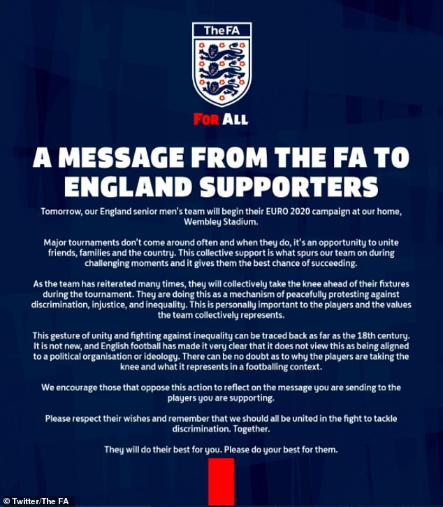 The FA released a statement on the eve of the Croatia match urging fans not to boo the players