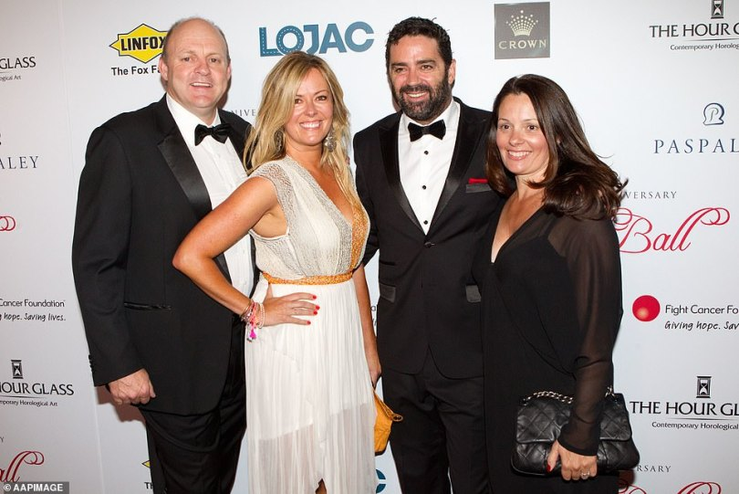 Scandal: Geelong great Billy Brownless is said to have moved into the apartment in 2016 when his marriage to ex-wife Nicky was on the rocks.Brownless was blindsided when his Footy Show co-host and former friend Garry Lyon started a relationship with his wife of 18 years. Pictured (L-R):Billy Brownless, Nikki Brownless. Gary Lyon and Melissa Lyon in 2012