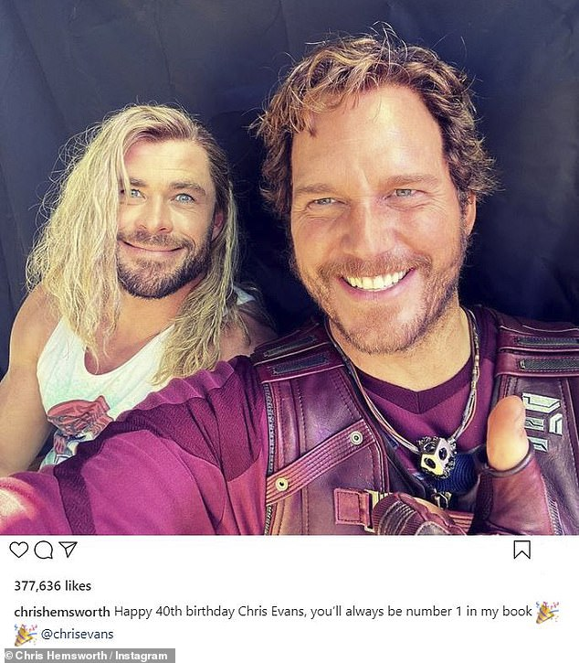 Two of three Chriss: To mark the birthday of co-star Chris Evans, Chris Hemsworth uploaded a funny snap to his Instagram feed on Saturday