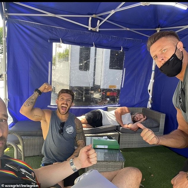 Thor Asleep on the Couch: The actor pair recently wrapped filming on the fourth installment of Hemsworth's standalone MCU franchise, Thor;  seen on Instagram