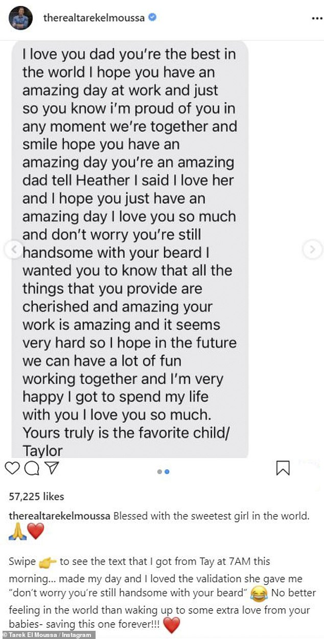 Absolutely adorable: Taylor called her father 'the best in the world' and that she's 'happy to spend my life with you'