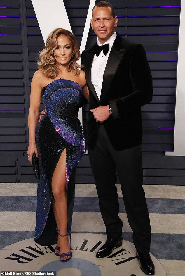 The way they were: the post comes less than three months after his split from Jennifer Lopez;  the former couple are pictured at the 2019 Vanity Fair Oscar party