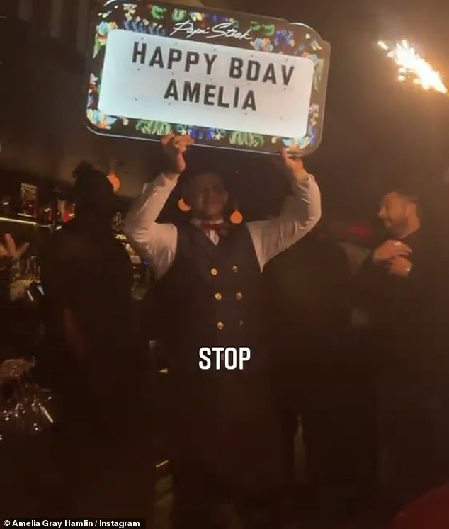 What a night: Amelia, who was technically 20 on Sunday but was obviously partying until midnight, was treated to a lavish celebration