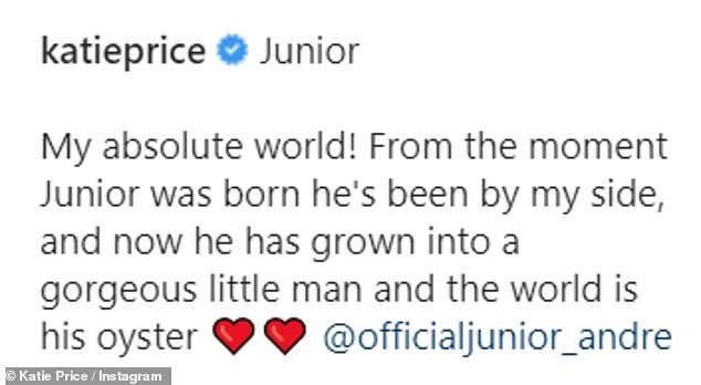 Katie concluded her post: 'Now he has grown into a gorgeous little man and the world is his oyster'