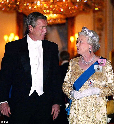 In 2008, when then US president George W Bush (pictured with the Queen) met with the monarch at Windsor, he enjoyed a traditional English afternoon spread of tea, small sandwiches and cakes in the White Drawing Room