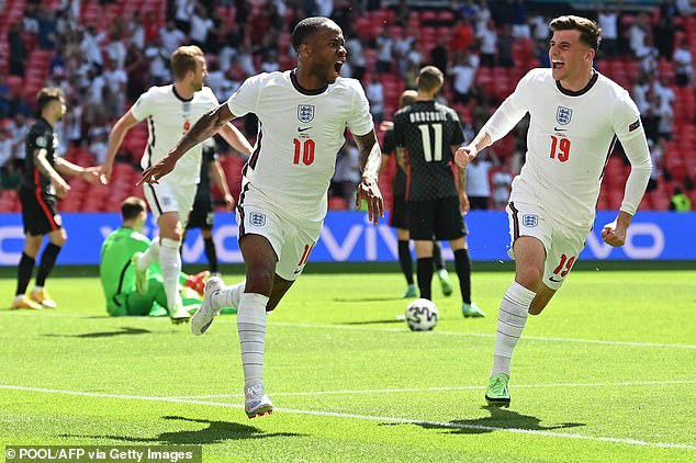 Amazing: Raheem Sterling scored the winning goal as England beat Croatia 1-0 at Wembley to begin their Euro 2020 bid well (picturedforward Raheem, left, and midfielder Mason Mount)