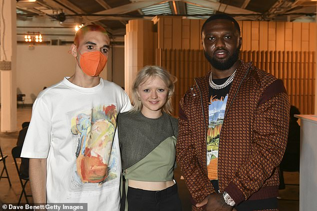 Loved up: Maisie Williams, 24, showed her support for her boyfriend Reuben Selby at his London Fashion Week show on Saturday (pictured together with rapper Headie One right)