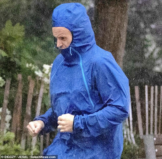 Late night rendezvous: Following their evening together, the actor of Trainspotting fame was spotted going through a rainy morning jog in his neighborhood