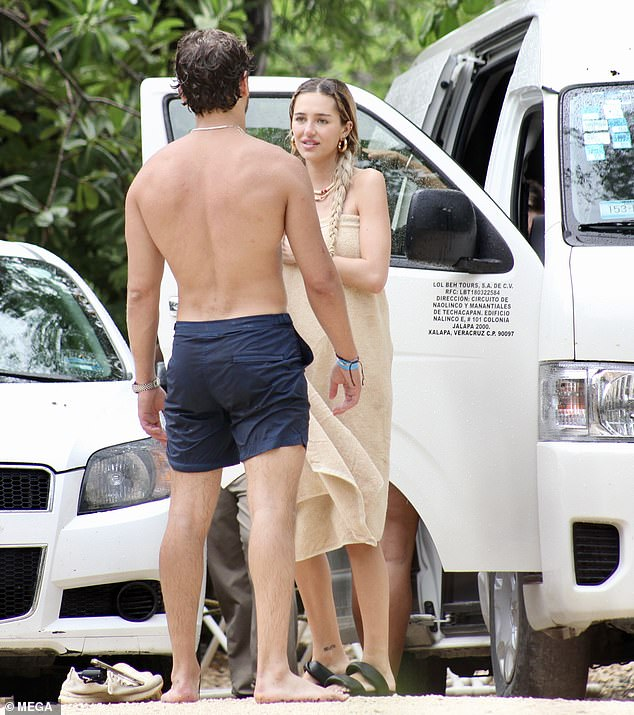 Mexican vacation: Delilah Belle Hamlin, 23, and her boyfriend Eyal Booker, 25, enjoyed a day at a cenote in Mexico as they continue to celebrate the model's birthday in Tulum