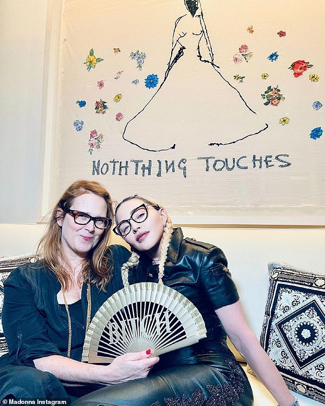 She cosied up to Erin, 57, captioning the snaps: 'Sitting with my favorite b***h... I mean writer ✍ Erin Wilson. Nothing Touches but our Souls. #traceyemin #screenplay!'
