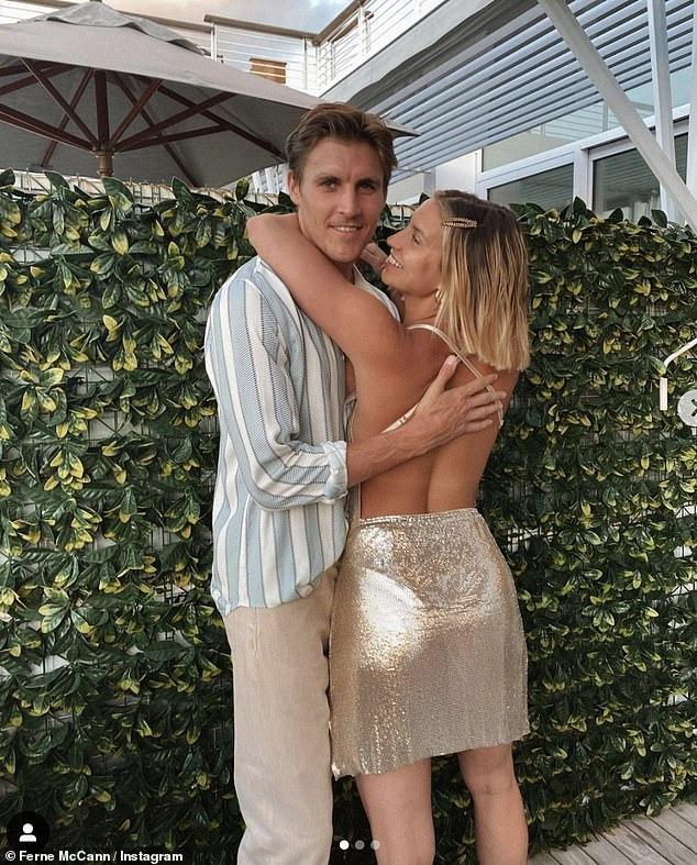 Old flames: Ferne and Jack first met five years ago in Marbella and moved in together during the UK lockdown (pictured together in a snap shared in February)