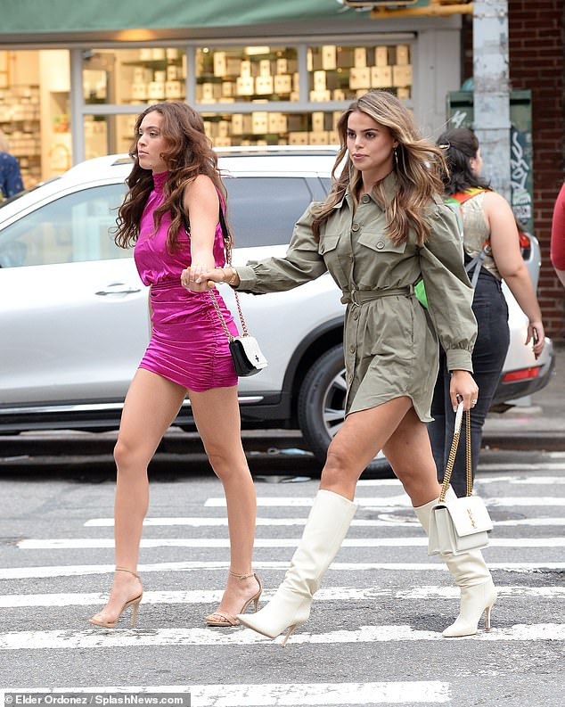 Just girls!  The model was seen holding the hand of her younger sister Grace, who wore a fuchsia dress and beige heels