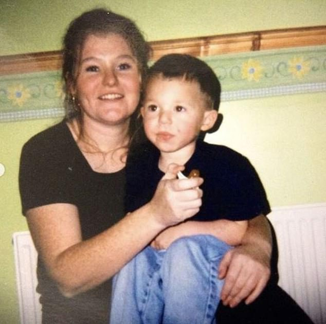 Phillips pictured with his mum as a child - she would sleep on a sofa in his childhood home where the England man grew up alongside his siblings