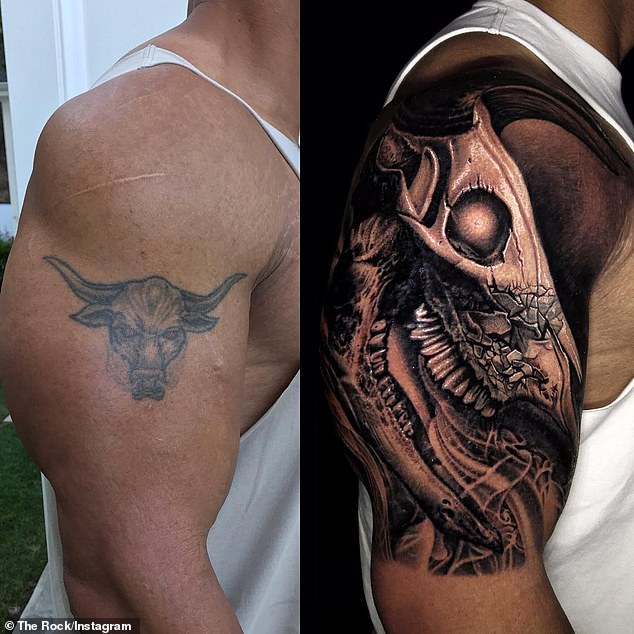 Work in progress: The 49-year-old actor originally began enhancing the tattoo back in 2017 to cover up a smaller bull inking he'd had for over two decades