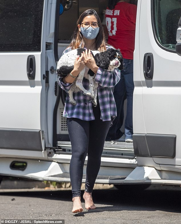Dog mom: Olivia Munn, 40, takes great care of her furry friends and was spotted getting her rescue dogs groomed at a mobile groomer outside of her Los Angeles home on Monday morning