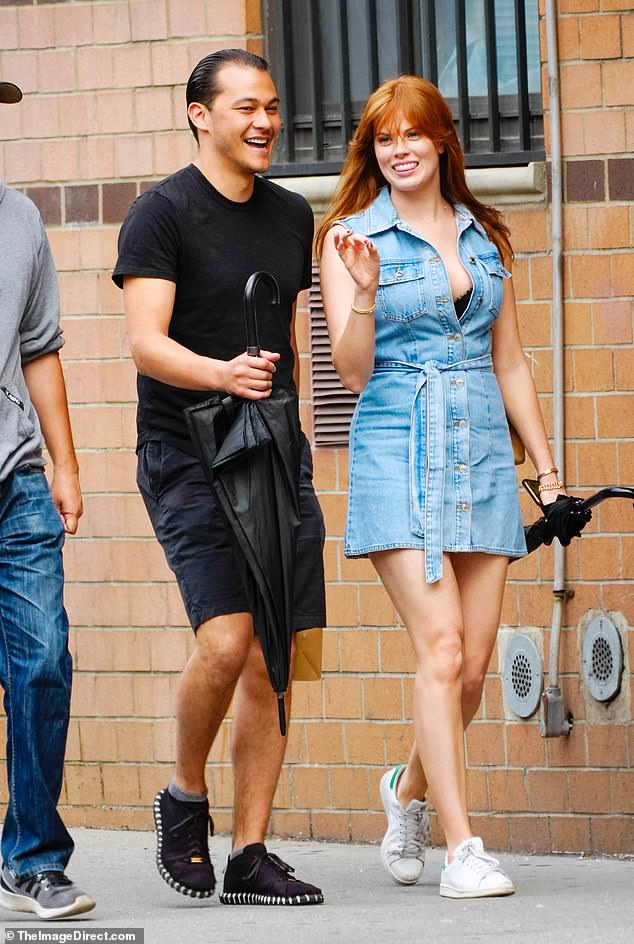 Moving on? Katie's ex-boyfriend Emilio Vitolo Jr. was spotted laughing alongside a mystery woman during a lunch date on Sunday