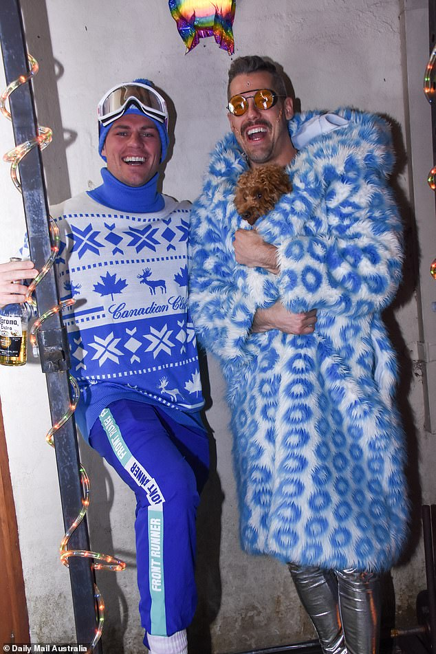 Celebrations!  Pascal spared no expense for his departure with several of his Bachelorette co-stars dressing for the occasion.  Pictured with Bachelorette Alumni Jackson Garlick [left]