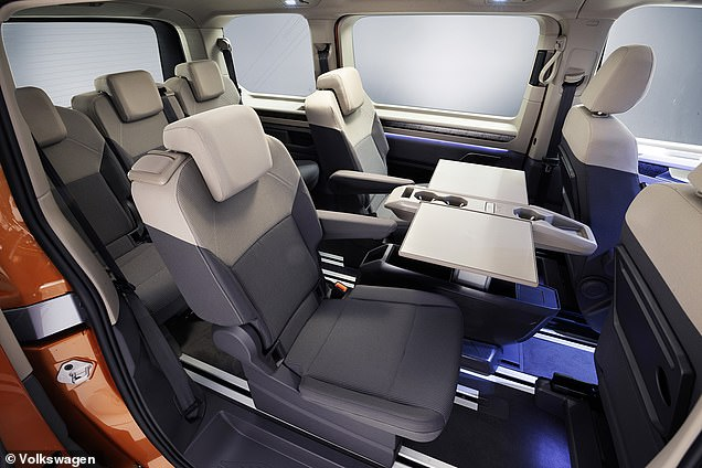 VW has done away with a conventional bench and now provides five independent rear seats. Each can be removed individually