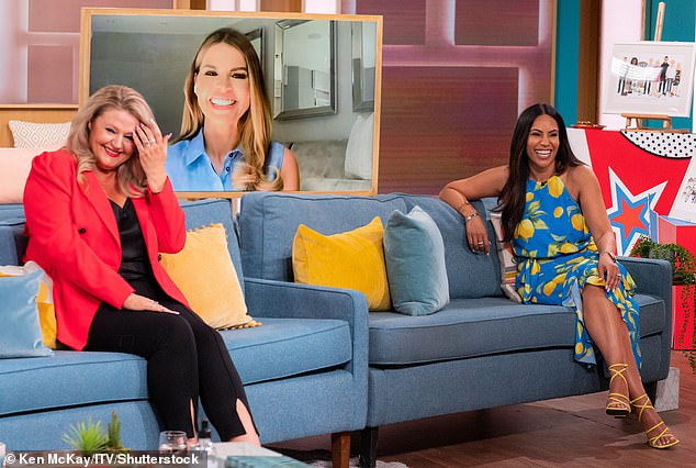 Newbie: Another guest was the Real Housewives new addition Deborah Davies, a psychic, who wore an all black ensemble and added a pop of colour with a bright red blazer