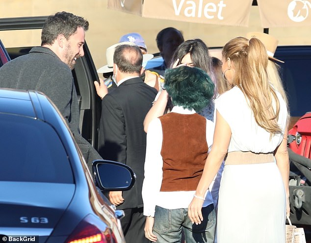 Cute: Outside of the restaurant, Ben seemed to have a blast with Jennifer's kids as he was seen sharing a laugh with her daughter Emme before making their entrance