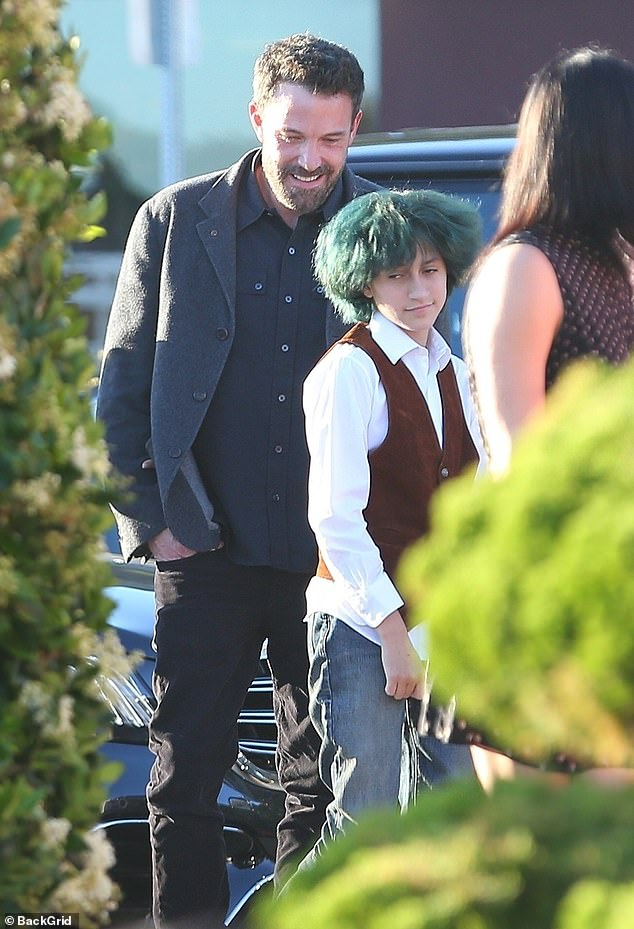 Bonding time: Ben Affleck was seen spending some quality time with the JLo's 13-year-old twin children including daughter Emme