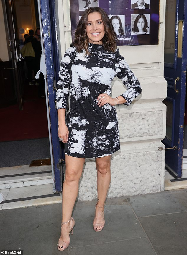 Beautiful: Kym Marsh, 44, had a spring in her step as she arrived at the press for Dr Ranj's show Scrubs to Sparkles in London's Garrick Theatre on Tuesday