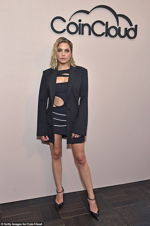 Lady with long legs!  All eyes were on Ashley Benson and her daring LBD as she attended the Coin Cloud cocktail party, hosted by Common, in Los Angeles on Tuesday