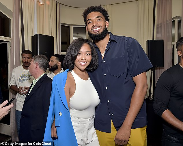 Love is in the air!  Jordyn Woods and boyfriend Karl-Anthony Towns looked so in love as they shared a snap inside the party