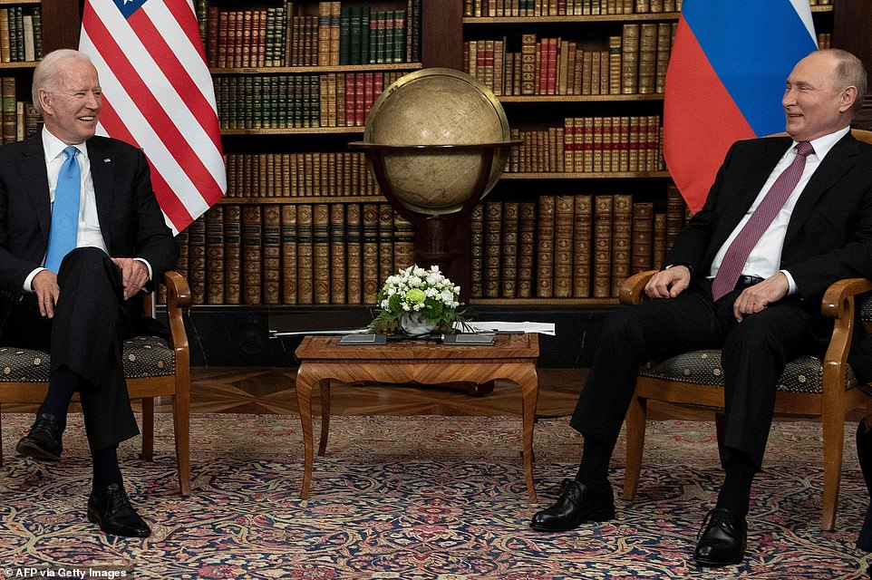 The pair look at pains to appear jovial as their summit gets underway in Geneva