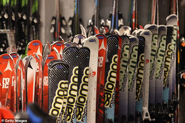 Sets of skis at George's Ski Hire on Mount Buller in Victoria wait in anticipation of a ski season that has been doomed to fail