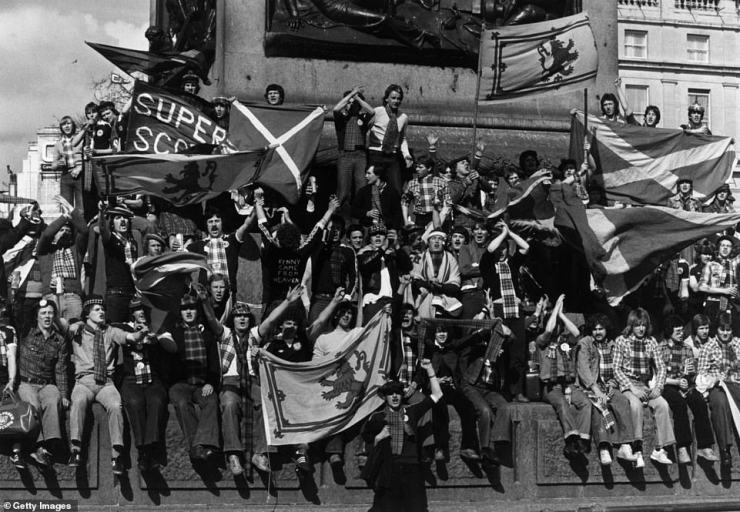Scenes of fans descending on the capital no-doubt evoked memories of previous Tartan army invasions in London, such as in1979 (pictured)