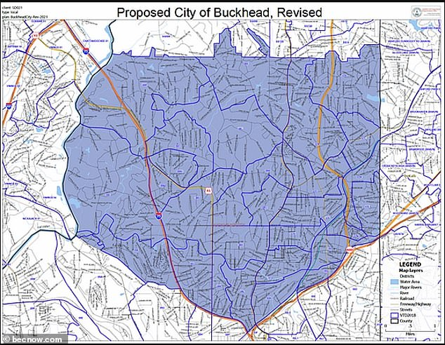 The boundaries of their proposed new city are seen above
