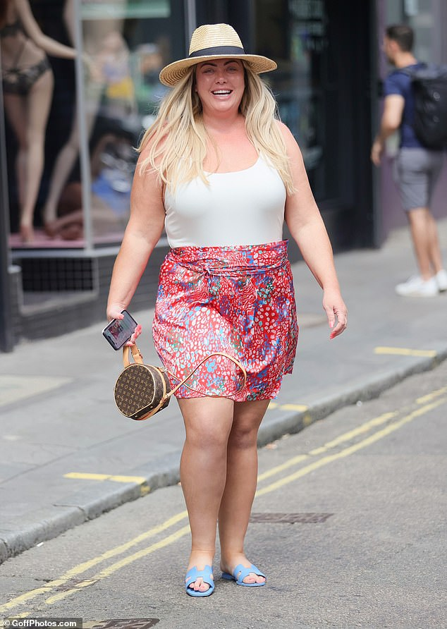 Looking good: Gemma Collins turned heads as she proudly showed off her 3.5st weight loss while heading to a recording studio in London's Soho on Friday