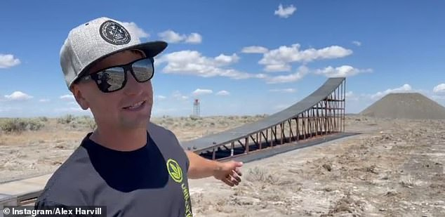 Harvill was seen on Instagram looking at the ramp where his fatal crash would occur