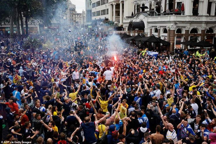 There were wild scenes of jubilation throughout the day and despite the drunken revelry, police have only made two arrests so far