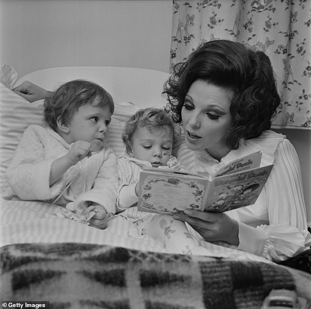 Family: She is also mum to daughters Tara and Katy (pictured with Tara and Sacha in 1967)