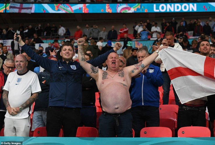 Fans of England show their support prior to the UEFA Euro 2020 Championship Group D match between England and Scotland