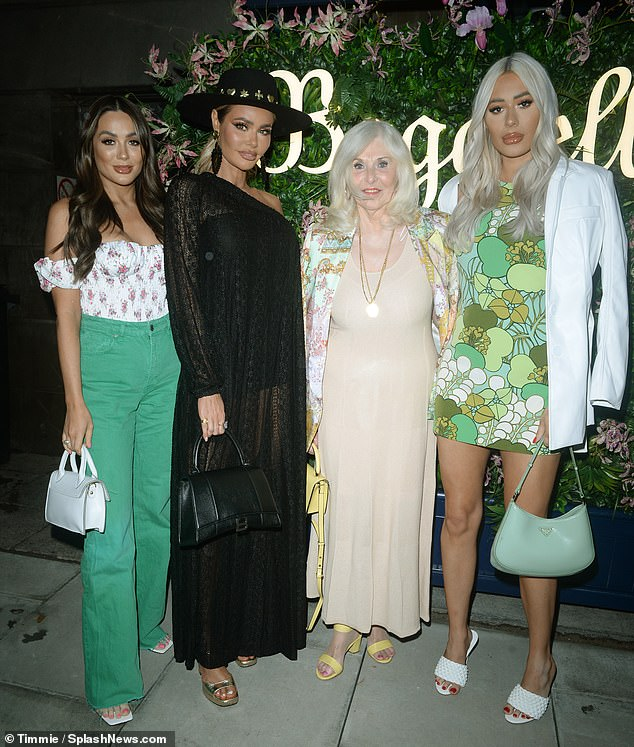 Family fun: The TOWIE star, 25 was joined by her sisters Chloe, 38 and Demi, 25, as they hit the town to celebrate their Nanny Linda's 82nd birthday