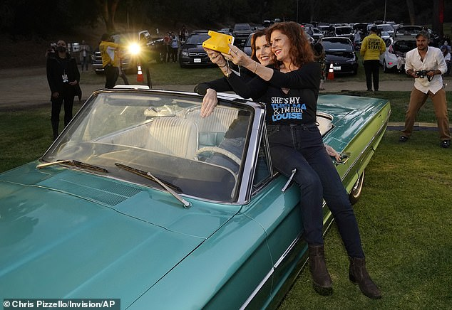 Time flies:Susan Sarandon and Geena Davis were in attendance at a special drive-in charity screening of their now-classic film Thelma And Louise on Friday evening, on the occasion of the movie's 30th anniversary