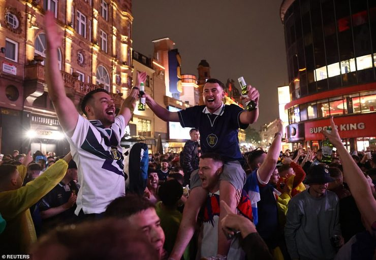 Crowds thronged into Leicester Square in central London after the scoreless draw at Wembley on Friday night