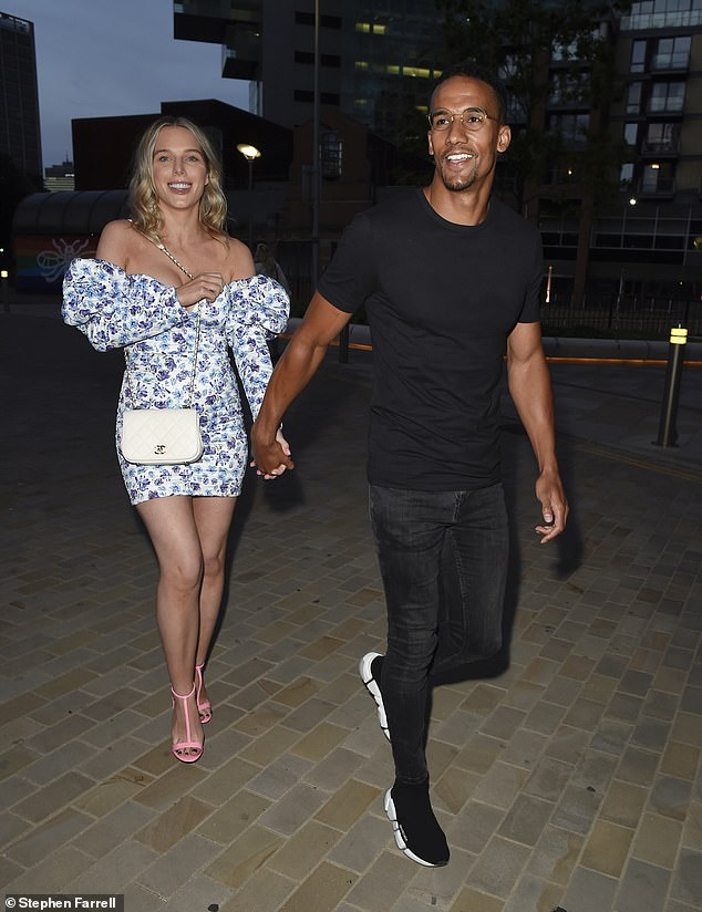 Stunning: Helen Flanagan looked gorgeous on Saturday when she stepped out in a thigh-skimming floral bodycon dress for a date night with Scott Sinclair
