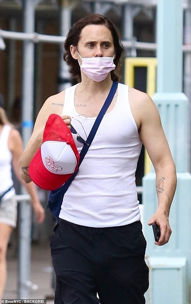 Saturday: Jared Leto was seen outside of work hours walking around the west side of Manhattan in New York City in Hudson River Park