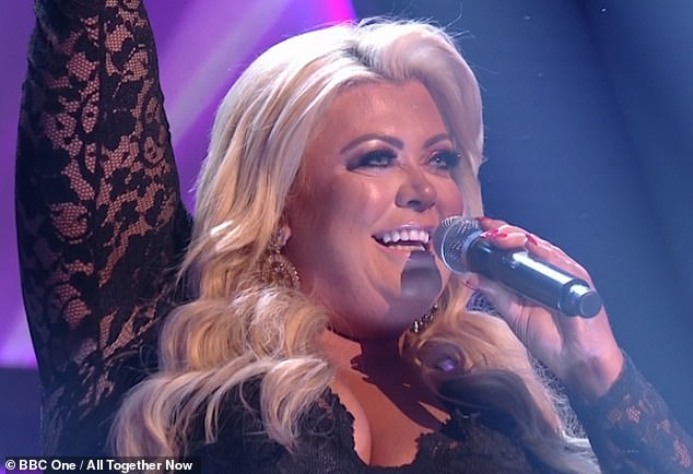 Talented: Gemma Collins treated fans to a glimpse of her incredible singing voice as she duetted with a pianist at London's Dorchester hotel on Saturday night