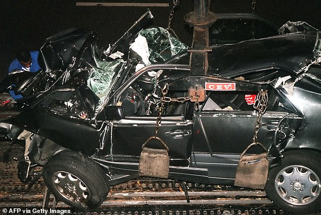 It set in motion a chain of events that resulted in her dying with Dodi and their chauffeur Henri Paul in a horrific crash in a tunnel on August 31, 1997. Pictured: Wreckage of Diana's car