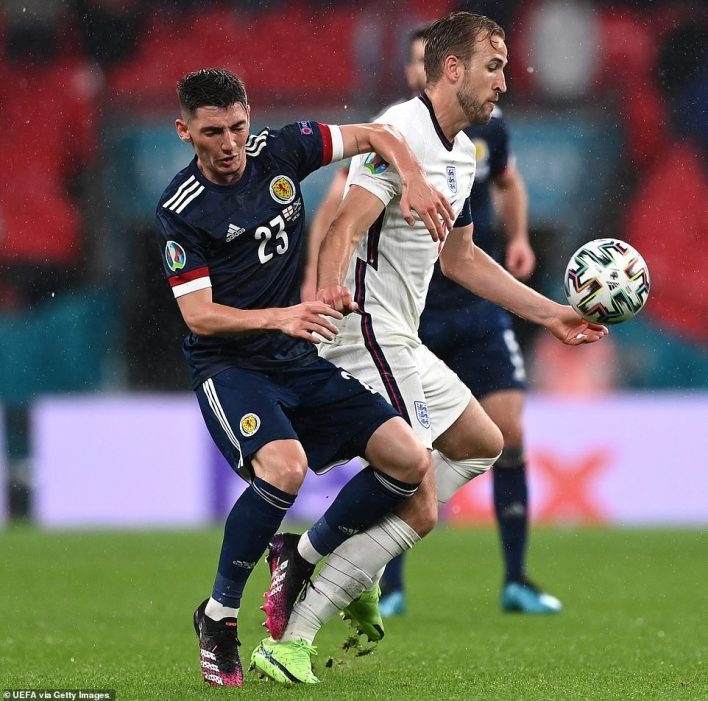 Scotland's Billy Gilmour challenges Harry Kane of England during the Euro 2020 Group D match at Wembley last Friday