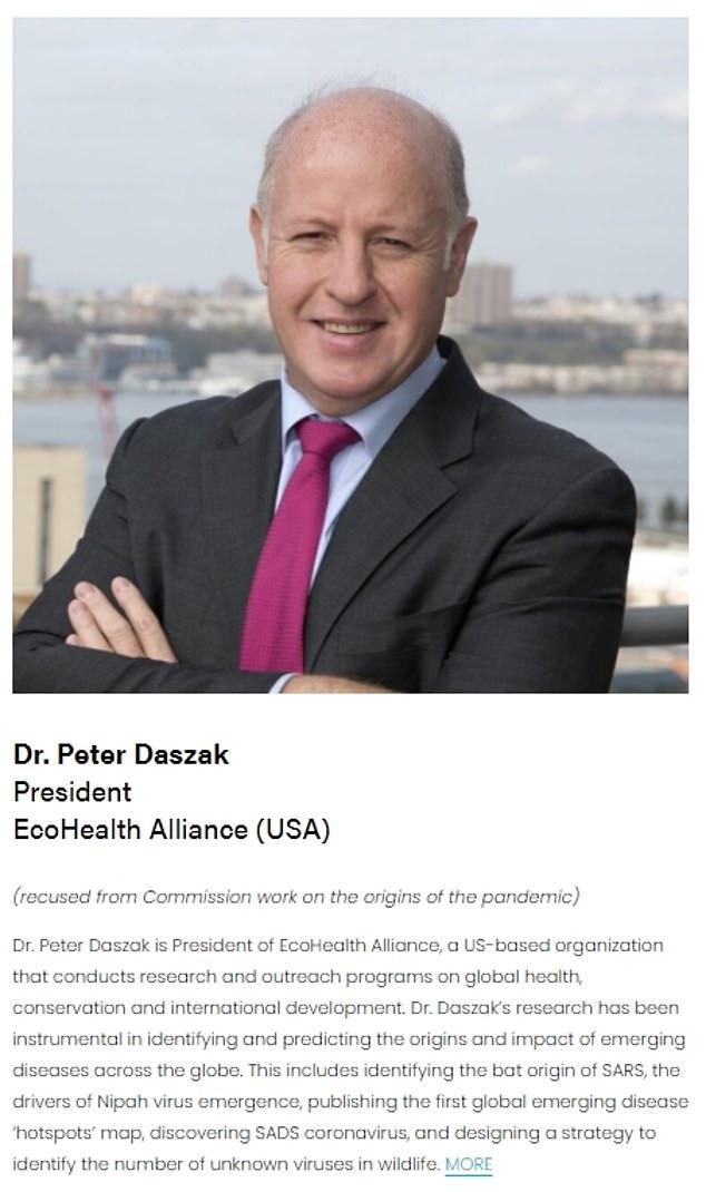 Lundi, la commission COVID a mis à jour son site Web pour montrer que Daszak a été récusé