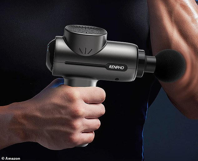 The RENPHO percussion deep tissue massage gun weighs just one and a half pounds and comes with it's own pouch so you can take it to work or on your travels