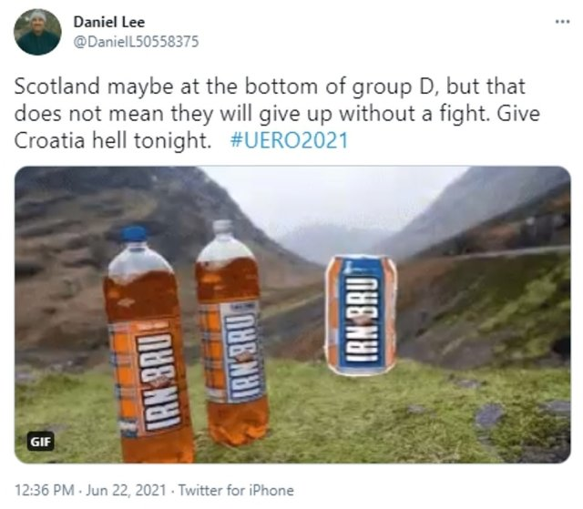 'Give Croatia hell tonight': One fan says Scotland 'will not give up without a fight' above a picture of the iconic Scottish soft drink Irn Bru